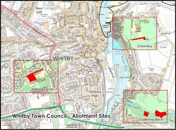 Map of allotment locations in Whitby